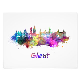 Ghent skyline in watercolor photographic print