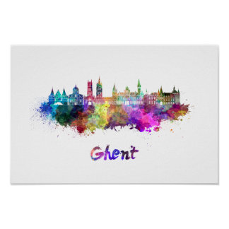Ghent skyline in watercolor poster