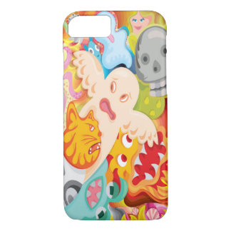 Ghost cartoon illustration with fun colors and int iPhone 7 case