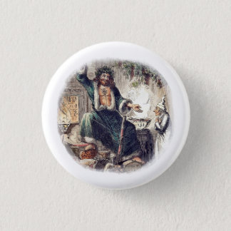 Ghost Christmas Present with Scrooge 1 Inch Round Button