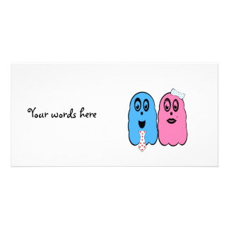 Ghost couple in pink and blue picture card