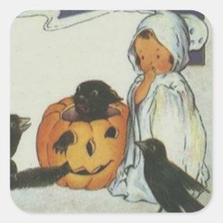 Ghost Crow Jack O Lantern Pumpkin Black Cat Square Sticker