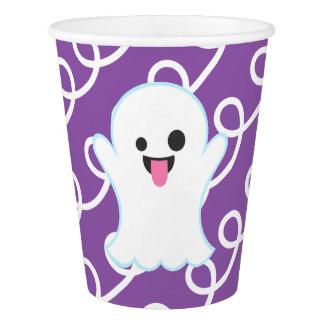 Ghost Emoji (Purple Swirls) Paper Cup