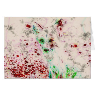 Ghost Fox Eyes Red and White Art Card