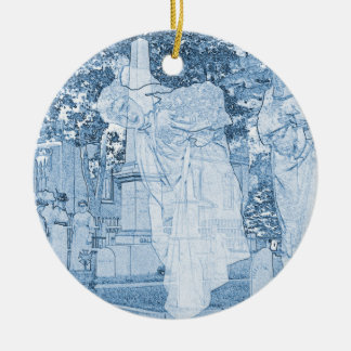 Ghost Girls Escaping Cemetery vintage Art Photo Ceramic Ornament