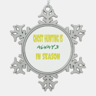 Ghost Hunting Season Snowflake Pewter Christmas Ornament