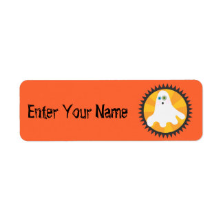 Ghost in Black Circle Return Address Label