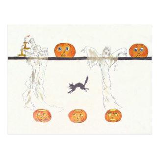 Ghost Jack O Lantern Pumpkin Black Cat Postcard