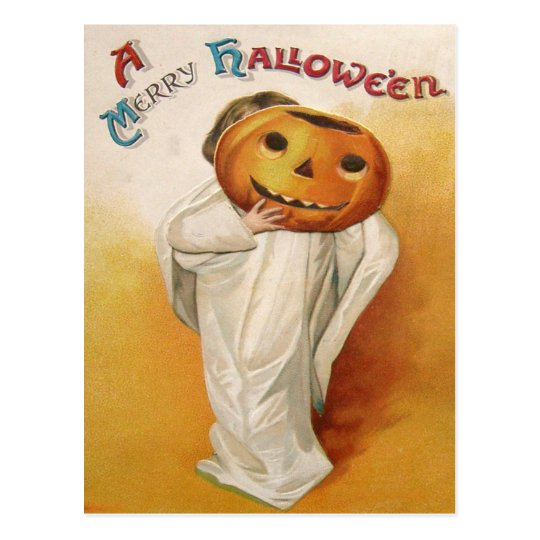 Ghost Jack O Lantern Pumpkin Child Postcard