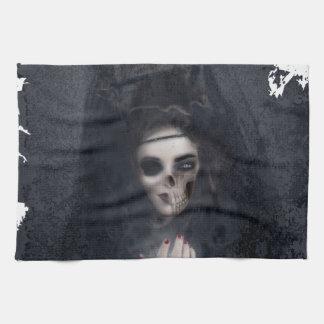 Ghost Lady Haunting Skull Skeleton Towels