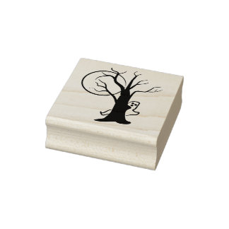 Ghost moon and tree illustration art stamp