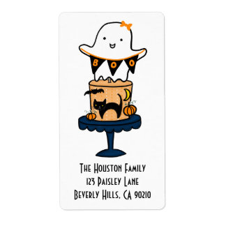 Ghost on Halloween Cake Shipping Label