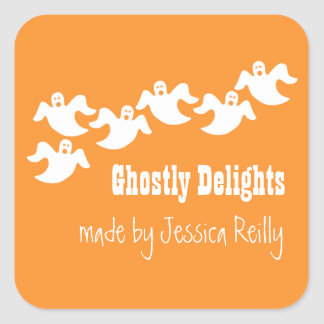 Ghost Party Halloween Baking Stickers, Orange Square Sticker