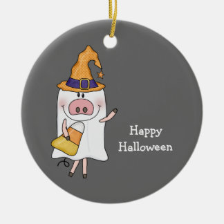 Ghost Pig (customizable) Ceramic Ornament