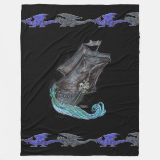 Ghost Pirate Ship Blue Black Dragons Fleece Blanket