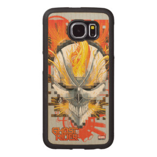 Ghost Rider Skull Badge Wood Phone Case