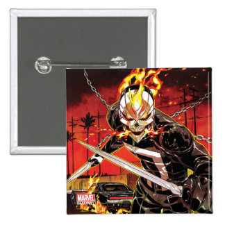 Ghost Rider With Knives 2 Inch Square Button