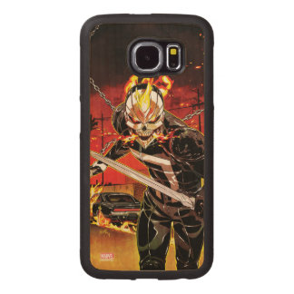 Ghost Rider With Knives Wood Phone Case