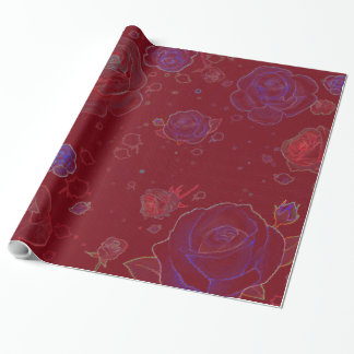 Ghost Roses Ruby Red Gift Wrapping Paper