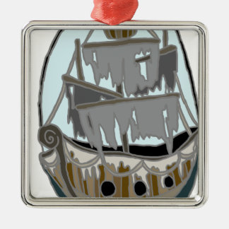 Ghost Ship Metal Ornament