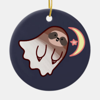 Ghost Sloth Ceramic Ornament