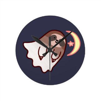 Ghost Sloth Round Clock