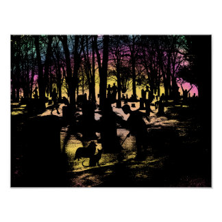 Ghost Spirits Graveyard Cemetery silhouette Art Poster