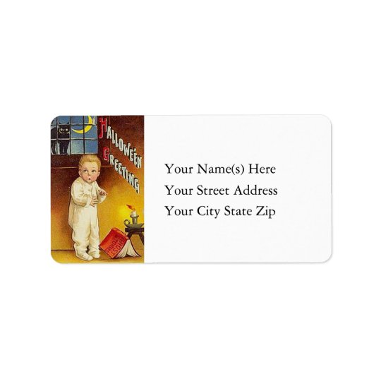 Ghost Stories on Halloween Vintage Address Label