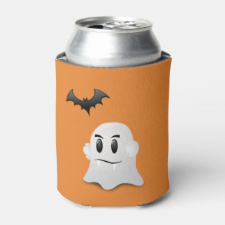 Ghost w/Fangs and Black Bat Can Cooler
