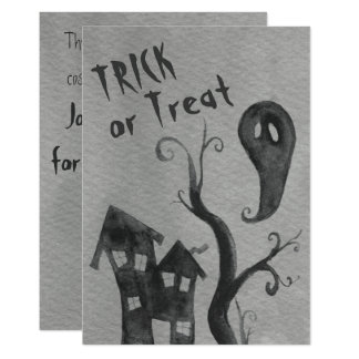 Ghost Watercolor Halloween Invitation