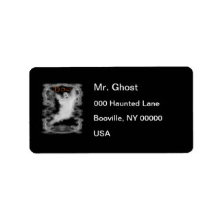 Ghost White Scroll Border Label