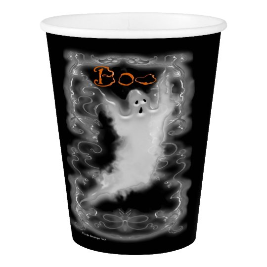 Ghost White Scrolls Paper Cup