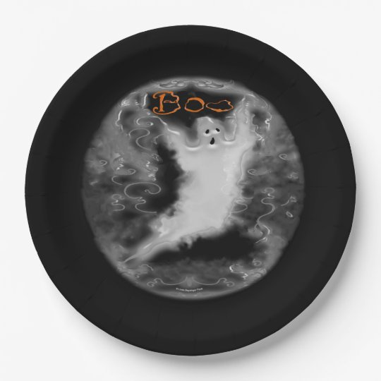 Ghost White Scrolls Paper Plate