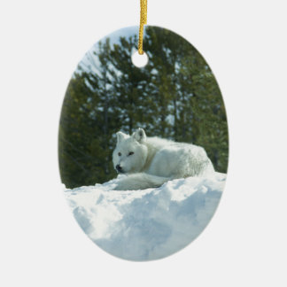 Ghost Wolf Ceramic Ornament