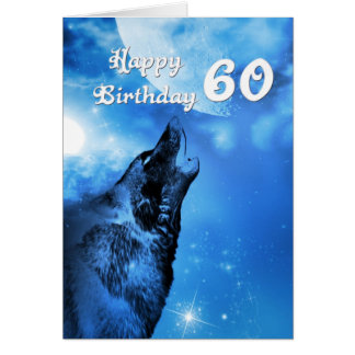 Ghost wolf howling 60th birthday card