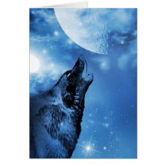 Ghost wolf howling at the moon card
