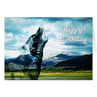 Ghost wolf howling Birthday card