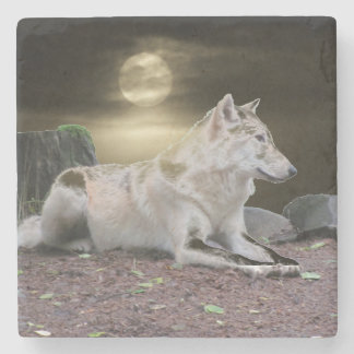 Ghost Wolf in the Moonlight Stone Coaster