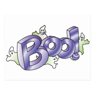 Ghostly BOO for Halloween Postcard