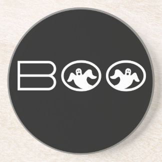 Ghostly Boo Halloween Coaster, Black and White Coaster