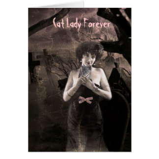 Ghostly Cat Lady greeting card