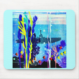 ghostly submarine in tropical waters mouse pad
