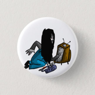 Ghostly Tv Repair-Person 1 Inch Round Button