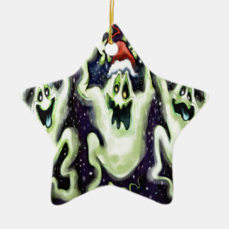 Ghostly Xmas Trio Ceramic Ornament