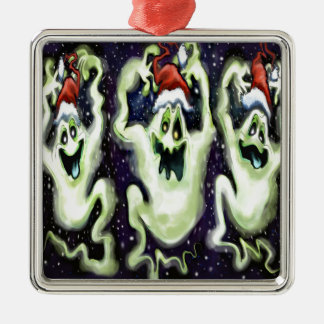 Ghostly Xmas Trio Metal Ornament