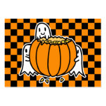 Ghosts and Pumpkin Halloween card Large Business Card