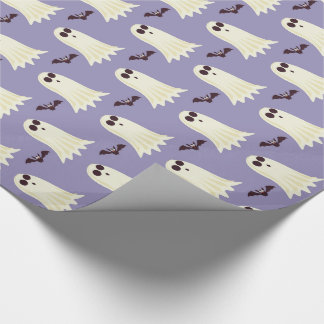 Ghosts & Bats Lilac Halloween Wrapping Paper