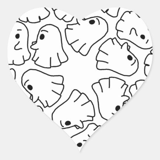 ghosts cute Halloween ghost Heart Sticker