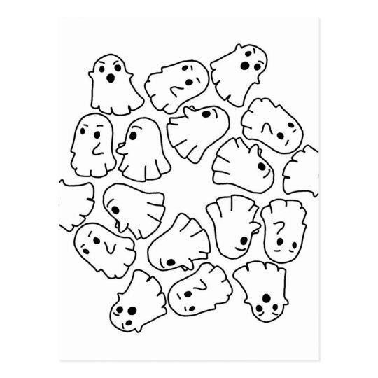 ghosts cute Halloween ghost Postcard