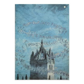 Ghosts Flying Around a Church Tower Halloween Card